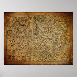 Vintage Map of Somerset UK 1610 Poster