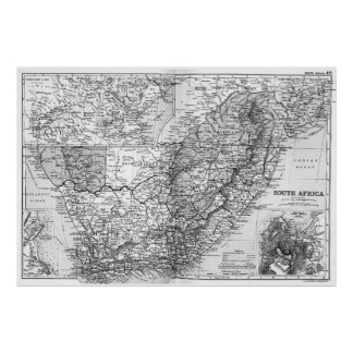 Vintage Map of South Africa (1892) BW Poster