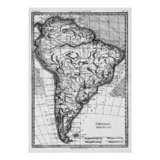 Vintage Map of South America (1780) BW Poster