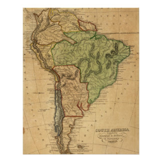 Vintage Map of South America (1821) Poster
