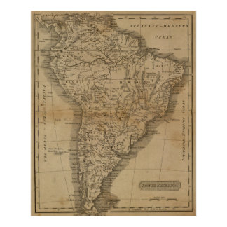 Vintage Map of South America (1825) Poster