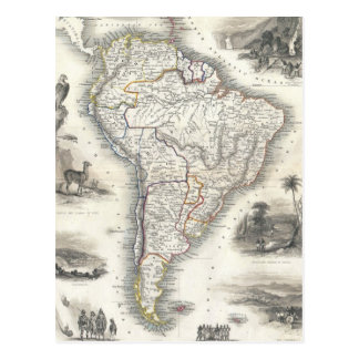 Vintage Map of South America (1850) Postcard