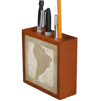 Vintage Map Of South America Desk Organizer