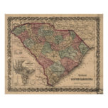 Vintage Map of South Carolina (1865) Poster