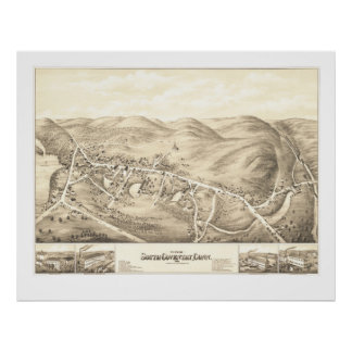 Vintage map of South Coventry, CT from 1878 Poster