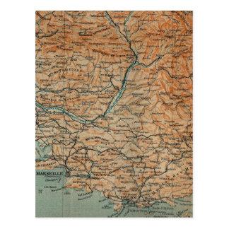 Vintage Map of Southern France (1914) Postcard