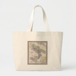 Vintage Map of Southern Italy (1853) Large Tote Bag