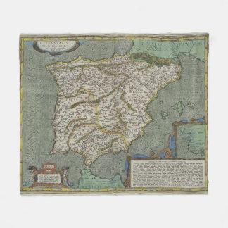 Vintage Map of Spain (1608) Fleece Blanket