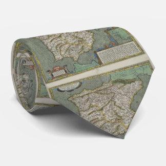 Vintage Map of Spain (1608) Tie