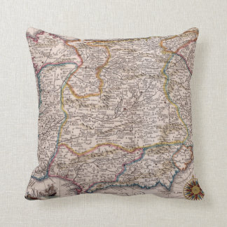 Vintage Map of Spain (1610) Throw Pillow