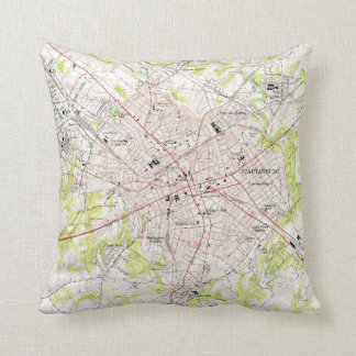 Vintage Map of Spartanburg South Carolina (1949) Throw Pillow