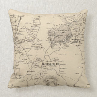 Vintage Map of Spofford and Chesterfield NH (1892) Throw Pillow