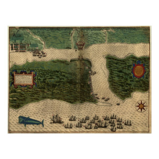 Vintage Map of St. Augustine Florida (1589) Poster