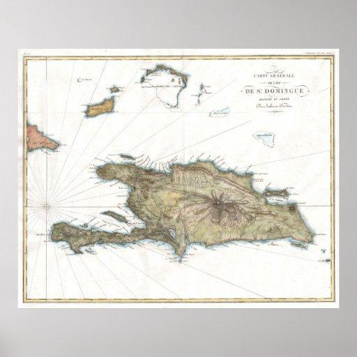 Vintage Map of St. Domingue (1802) Poster