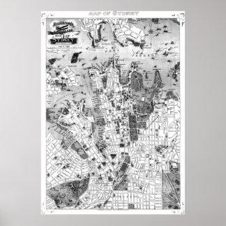 Vintage Map of Sydney Australia (1922) BW Poster