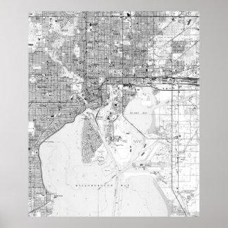 Vintage Map of Tampa Florida (1944) BW Poster