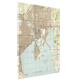 Vintage Map of Tampa Florida (1944) Canvas Print
