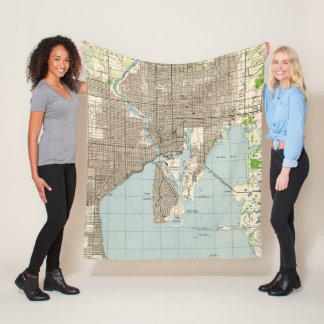 Vintage Map of Tampa Florida (1944) Fleece Blanket