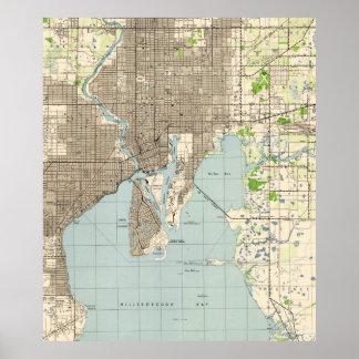 Vintage Map of Tampa Florida (1944) Poster