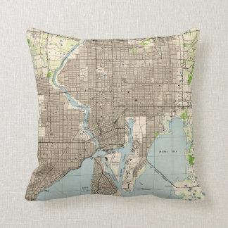 Vintage Map of Tampa Florida (1944) Throw Pillow