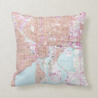 Vintage Map of Tampa Florida (1956) Throw Pillow