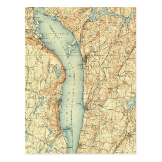 Vintage Map of Tarrytown NY & The Hudson River Postcard