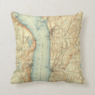 Vintage Map of Tarrytown NY & The Hudson River Throw Pillow