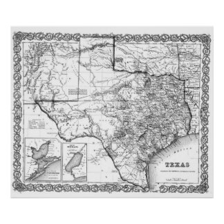 Vintage Map of Texas (1856) BW Poster