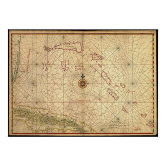 Vintage Map of The Bahamas (1650) Poster