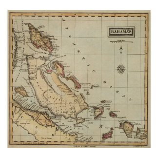 Vintage Map of The Bahamas (1823) Poster