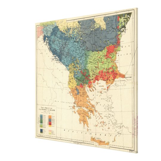 Vintage Map of The Balkans (1918) Canvas Print