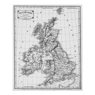 Vintage Map of The British Isles (1864) BW Poster