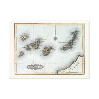 Vintage Map of the Canary Islands Canvas Print