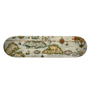 Vintage Map of The Caribbean 1594 Skate Board