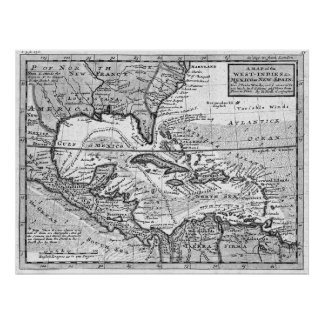 Vintage Map of the Caribbean (1732) BW Poster