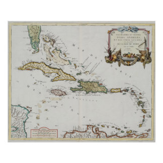 Vintage Map of The Caribbean (1779) Poster