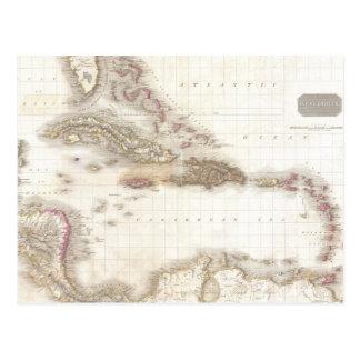 Vintage map of the Caribbean Sea Postcard