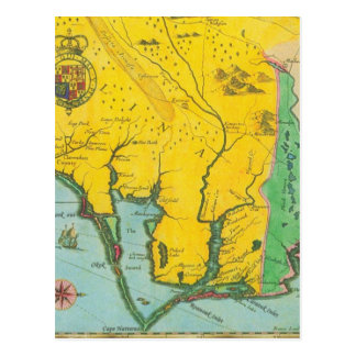 Vintage Map of the Carolina Coast Postcard