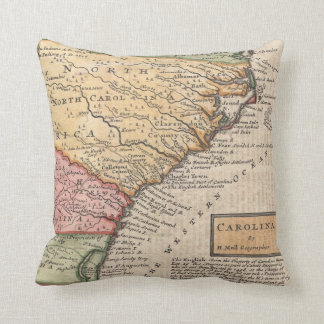 Vintage Map of the Carolinas (1746) Throw Pillow