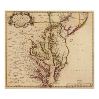 Vintage Map of The Chesapeake Bay (1719) Poster