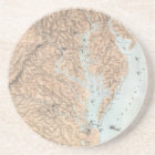 Vintage Map of The Chesapeake Bay (1861) Coaster