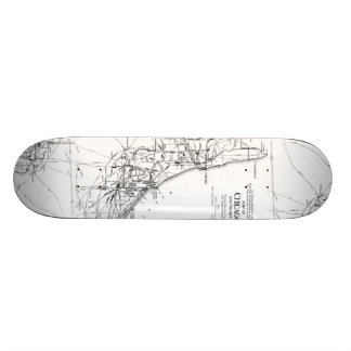 Vintage Map of The Chicago Railroad Network (1913) Skate Deck