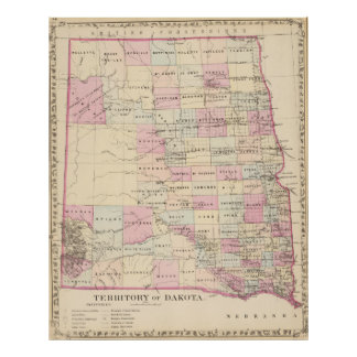 Vintage Map of The Dakota Territory (1880) Poster