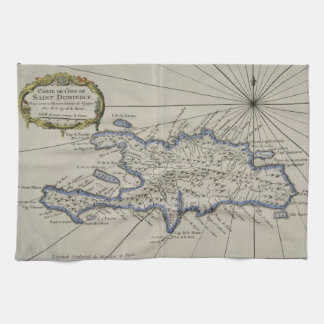 Vintage Map of The Dominican Republic (1750) Kitchen Towel