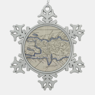Vintage Map of The Dominican Republic (1750) Snowflake Pewter Christmas Ornament