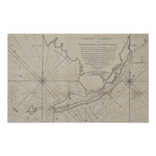 Vintage Map of The Florida Keys (1771) (2) Posters