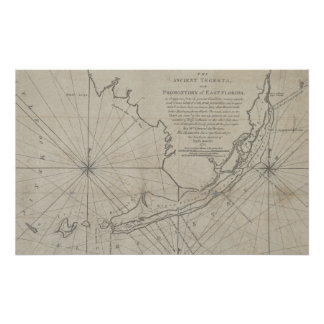 Vintage Map of The Florida Keys 1771 2 Posters