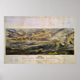 Vintage Map of The Gettysburg Battlefield (1863) Poster