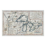Vintage Map of The Great Lakes (1696) Poster