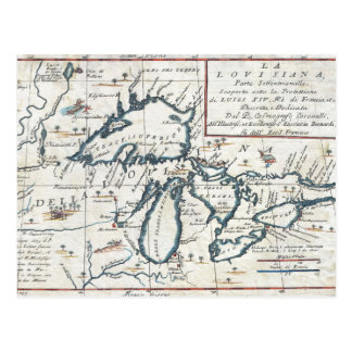 Vintage Map of the Great Lakes, 17th Century Postcard